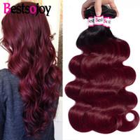 Wholesale black red ombre hair weave resale online - Bestsojoy Ombre Brazilian Virgin Hair B j Burgundy Body Wave black Red Ombre Hair Bundles inch Weave Human Hair Extensions