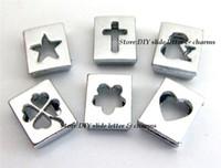 pulseiras chaveiro venda por atacado-Frete grátis 50 pcs-100 pcs 8mm Mix estilo oco forma de slides encantos pode caber 8 MM pulseira chaveiro DIY jóias