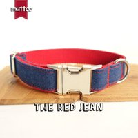 Wholesale canvas dog collars resale online - Muttco Retailing Special Fresh Fashionable Good Quality Self design Jean Canvas Stripe Dog Collar The Red Jean Sizes Udc018