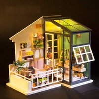 Wholesale handmade toy wood house online - Small Mini Doll House D Wooden DIY Dollhouse Box Villa Handmade Miniature Dollhouses Kit Toys for Children Girls Xmas Gifts