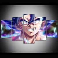 pinturas a óleo venda por atacado-5 Peça Grande Tamanho Da Arte Da Parede Da Lona de Dragon Ball Super Goku Olhos Ultra Instinct Pintura A Óleo Da Arte Da Parede Pictures for Living Room Pinturas
