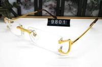 moda cuerno al por mayor-Venta caliente marca de moda sin montura gafas de cuerno de búfalo hombres mujeres oro plata aleación de metal marco gafas de sol con caja