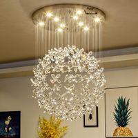 mariposa de cristal claro al por mayor-iluminación de la lámpara de cristal de lujo para la sala de estar grandes lámparas de mariposa para el hogar lámparas de cristal modernas