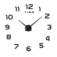 grandes relojes de plata al por mayor-Etiqueta de la pared Relojes Super Grande DIY Acrílico Reloj de Pared Sala de estar Creativa Decorar Auto Sticking Ventas calientes Negro Blanco Plata 36mtC1