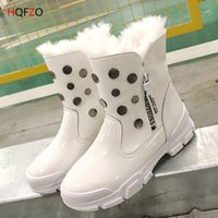 2709cd36 HQFZO New Warm Plush Mujeres Botas de nieve Zapatos de invierno de cuero de  mujer Mujer de piel de cremallera punta redonda Comforta Botas mujer  invierno ...