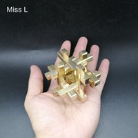 Wholesale chinese toy puzzle for sale - Group buy 3D Puzzle Cage Cross Structure Game Brain Teaser Toy Chinese Kong Ming Lock Collection Hobby Copper Metal Model
