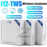 fone de ouvido para iphone rosa venda por atacado-Mini Fone de ouvido Bluetooth I12 TWS com carregamento Box botão de controle sem fio Fones de ouvido Headset BT5.0 para Smart celular com pacote