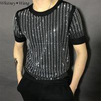 bling camisas strass venda por atacado-WHITNEY WANG 2019 Moda Verão Streetwear Bling Bling Rhinestone t camisa dos homens T-shirt Elegante tshirt Tops T dos homens