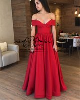 Wholesale sexy engagement party dresses resale online - Sexy Red Off Shoulder Cheap Prom Dresses A Line Long Satin Simple Girls Formal Engagement Evening Party Gowns For Women