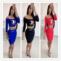 Wholesale off shoulder party dresses women resale online - Women champions Summer Tracksuit Flat Off shoulder T Shirt Tight Skirt Piece Bodycon Dress Set Outfit Long Sleeve Club Party Cloth A5601