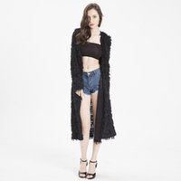uzun saçak toptan satış-Yeni Uzun kollu kazaklı palto Fringe kazak kazak hırka Saçaklı örme uzun palto Özel teklif