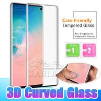 vidrio templado pro al por mayor-Protector de pantalla de cristal templado amistoso de la caja curvada 3D para Samsung Galaxy S10 E S10 Plus 5G S9 S8 Nota 8 9 LG G8 Huawei P30 Pro