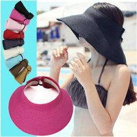 Wholesale white wide brim summer hat for sale - Group buy Women Lady Adjustable Wide Brim Visor Cap Summer Beach Straw Clip On Sun Hat Tennis Golf Black White Blue Pink Red