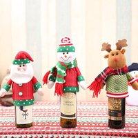christmas decor cerveja venda por atacado-Tampa de Garrafa de Vinho Tinto Sacos Decoração de Mesa de Jantar de Natal Decoração de Festa Em Casa Papai Noel Boneco de Neve Boneca Tampa de Cerveja Suprimentos de Natal