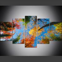 yağlıboya yaprakları toptan satış-5 Adet Büyük Beden Tuval Wall Art Pictures Yaratıcı Orman, Blue Sky, Salon Boyacılık Renkli Yapraklar Sanat Baskı Yağlıboya Resim