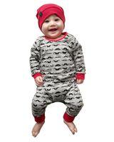 ingrosso i bambini infantili pagano grigio-2018 cute baby girl boy clothes Manica lunga barba grigia Stampa intera un pezzo di pagliaccetto per bambini Set di abiti da neonato Abiti da neonato