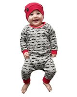 säuglingsjungenspielanzug grau großhandel-2018 cute baby girl boy kleidung langarm grauer bart Full print einteilige babyspielanzug Neugeborene kleidung set Infant anzüge