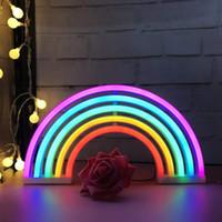 luces de pared rgb al por mayor-Lindo letrero de neón del arco iris, luz / lámpara LED de arco iris para la decoración del dormitorio, lámparas de neón de la decoración del arco iris, decoración de pared para el dormitorio de las niñas, Navidad