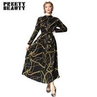 runway mode luxus maxi kleider großhandel-Fashion Runway Luxury Dress Lose Tunika gefaltetes Maxikleid Stehkragen Slim Vintage Print Schwarz Plus Size Kleider