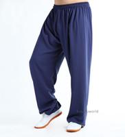 ropa wushu al por mayor-Algodón Seda Tai chi Kung fu Pantalones Artes marciales Wing Chun Pantalones Ropa Wushu