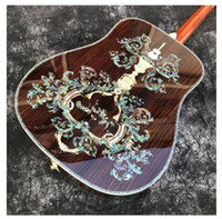 Wholesale guitar cherry hollow resale online - All solid wood Deluxe abalone inlay acoustic Guitar Factory custom handcraft acoustic guitars