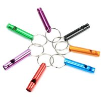 çok işlevli sağkalım düdüğü toptan satış-Renk Rastgele Çok Fonksiyonlu Anahtarlık Küçük Alüminyum Alaşım Hayat Kurtarıcı Yangın Survival Düdük Açık Malzemeleri Mini