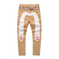 yeni mens pamuk stili pantolon toptan satış-2019 Yeni Japon Tarzı Dikiş Nakış Rahat Pantolon Pamuk Düz Erkek Giysileri Moda Kot Çift Joggers Sweatpants Boyutu 27-38