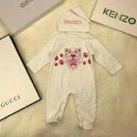 mamilos impressos para bebê venda por atacado-2 PCS macacão de bebê + Chapéu Bebê Meninos Conjunto de Roupas Tiger impresso Macacão Infantil de Algodão de Manga Longa Infantil bodysuits Roupa Dos Miúdos Frete grátis