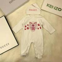 Wholesale blue zebra clothes resale online - 2PCS baby Rompers Hat Baby Boys Clothing Set Tiger printed Jumpsuit Infant Cotton Long Sleeve Infant bodysuits Kids Clothes