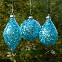 bolas de natal de vidro azul venda por atacado-Big embalagem pintura do céu azul Feito à Mão de vidro do Natal Pingentes Mão de Natal Bola decoração de casa de vidro