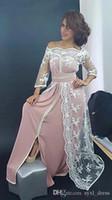 barco muçulmano venda por atacado-Empoeirado Rosa Pescoço Barco Muçulmano Vestidos de Noite Longos Desgaste do Partido Dubai Renda Branca Custom Made Elegante Vestido de Baile Frente Dividir Amostra