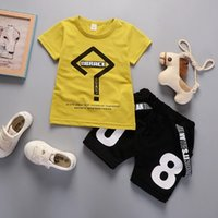 Wholesale chinese outfits children for sale - Group buy 2Pcs New Summer Boys Clothing Sets Kids Boys Geometry letter Tops T shirt and short pants children outfits