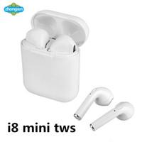 telefone i8 venda por atacado-I8 Mini TWS Sem Fio Bluetooth Fone de Ouvido Fone de Ouvido Estéreo Fone de Ouvido Magnético Com Caixa De Carregamento Mic Para O Telefone não Airpods