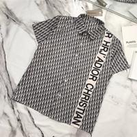 dikey şeritli tişörtler toptan satış-19ss lüks marka tasarım Tam D mektuplar baskı dikey şerit Tee Gömlek Erkek Kadın Breatheable Streetwear Kazak Açık T-Shirt