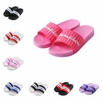 Wholesale flip flop slippers soles resale online - 8styles Letter Print Slippers Mens Women Sandals Soft Rubber Sole Sandal Summer Flip Flops Fashion Outdoor Beach Slipper Bath Shoes GGA2341