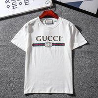 estilos de italia dos homens venda por atacado-gucci gg 19SS Moda Itália Paris letra impressa Mens T Shirt Homme T-shirt de manga curta Homens Mulheres Hip Hop Street Style Tops T SP6021