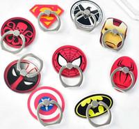cep telefonu kutusu tutacağı toptan satış-Evrensel 360 Derece Süper Kahraman Superman Batman Parmak Yüzük Tutucu Telefon Standı Perakende Kutusu Ile iPhone 7 6 s Için Samsung Cep Telefonları