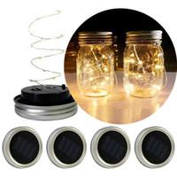 ingrosso corde fata-Solar Powered LED Mason Jars Light Up coperchio leggiadramente della stringa Star Lights vite su Silver Coperchi per Mason vasi di vetro di Natale Garden