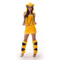 Wholesale movie costumes for ladies online - Japanese cartoon Pikachu role playing suit for ladies role playing suit sexy and lovely dress up suitable for holiday friends playing party
