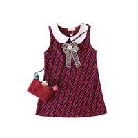 chaleco de una pieza al por mayor-FF Cartas Niños Diseñador Vestido Niñas Princesa Sin mangas Muñeca Vestidos de solapa de lujo Chaleco Camisa Falda Fends Bowknot Vestidos de una pieza B6201