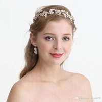 Wholesale 2019 Rose Gold Floral Headband For Bride Rhinestone Wedding Tiara Hair Crown Accessories Handmade Bridal Jewelry