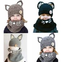satılık erkek şapkaları toptan satış-Sevimli Çocuk Kış Şapka Çocuk Kız Erkek El Crochet Sıcak Caps Eşarp Seti Bebek Bonnet Cartton Kedi Şapkası Çocuk Sıcak satış