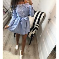 off shoulder yay elbisesi toptan satış-2018 Casual Kadın Gömlek Elbise Zarif Kapalı Omuz Çizgili Elbiseler Kısa Yay Bağları Yaz Elbise Vestidos