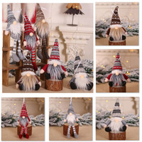 Wholesale christmas trees resale online - Christmas Ornament Knitted Plush Gnome Doll Christmas Tree Wall Hanging Pendant Holiday Decor Gift Tree Decorations HH9