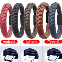 Wholesale red black brown blue wires resale online - Men Cortex Bracelet Hand Wrist USB Charger Cable Phone Data Line Adapter Charging Wire for iPhone X Max Samsung Handchain USB Line