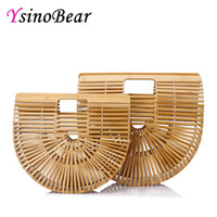 bolsas de bambu venda por atacado-YsinoBear Oco Out Bag Mulheres Bolsas De Bambu Top Lidar Com Sacos Femininos Causal Totes Embreagem Handmade Sacos De Praia Meia Lua Saco De Madeira