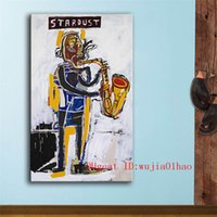 ingrosso pittura murale tela-Jean-Michel-Basquiat Stardust Graffiti, Canvas Painting Living Room Home Decor Pittura a olio moderna di arte murale