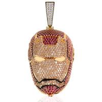 ingrosso collane in oro di disegno dei monili-Nuovo design Iron Man Iced Out Collana in argento placcato oro The Avengers Chain Mens Gift Idea Bling Jewelry