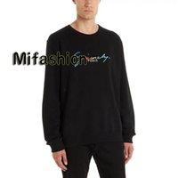hoodies asiáticos venda por atacado-19ss Luxo Outono Inverno Europa Paris Arco-íris Bordado Logotipo Hoodies Moda Masculina Roupas Pullover Camisola Mulheres Com Capuz Tamanho Asiático