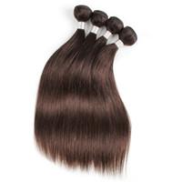 brazilian dalga kahverengi toptan satış-Toptan Brezilyalı düz İnsan Saç dokuma Uzantıları # 2 Koyu Altın Kahverengi Vücut dalga 10 ADET 12-24 Inç Remy İnsan Saç uzantıları